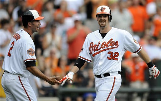 Baltimore Orioles' Matt Wieters (32) celebrates his three-run home run with J.J. Hardy (2) during the third inning of a baseball game against the Oakland Athletics, Sunday, July 29, 2012, in Baltimore. (AP Photo/Nick Wass)