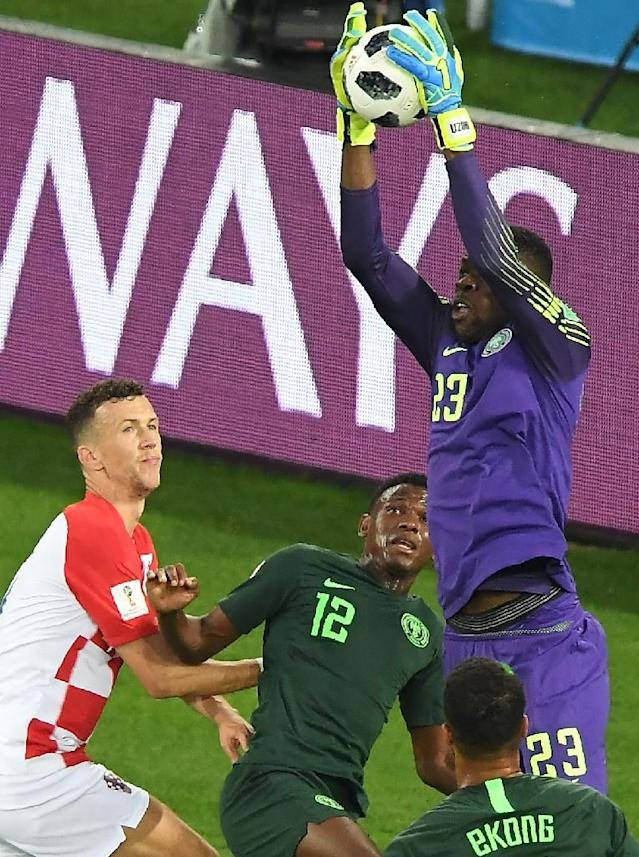Nigeria's teenage goalkeeper Francis Uzoho comes to claim the ball during his side's defeat at the hands of Croatia (AFP Photo/Attila KISBENEDEK)