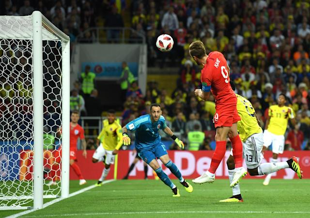 <p>Harry Kane of England heads the ball over the bar during the 2018 FIFA World Cup Russia Round of 16 match between Colombia and England at Spartak Stadium on July 3, 2018 in Moscow, Russia. (Photo by David Ramos – FIFA/FIFA via Getty Images) </p>