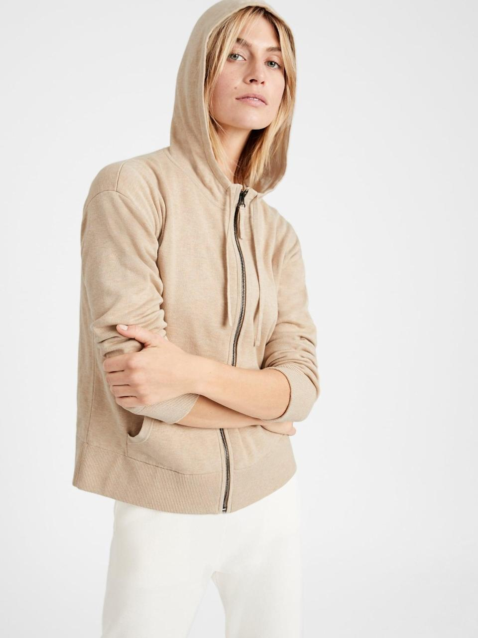 <p>This <span>Supima Sweater Pop-Color Hoodie</span> ($103, originally $129) is a no-brainer for days when getting dressed comes second.</p>