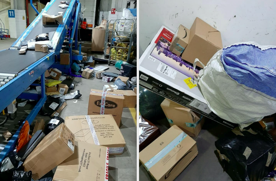 Hundreds of parcels are seen scattered across the floor in the depot (SWNS)