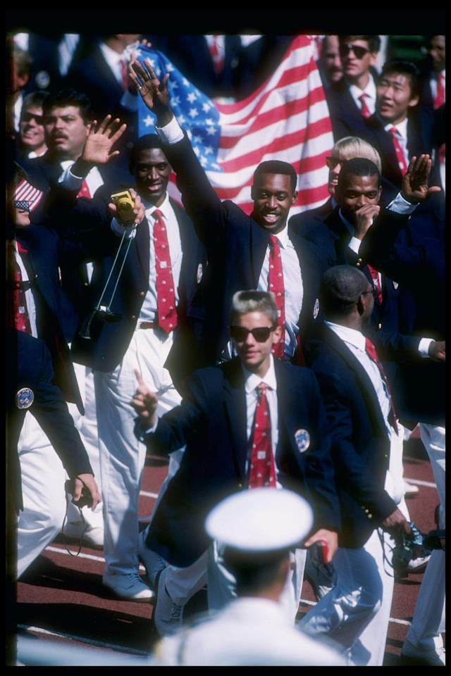 1988: Butch Reynolds of the United States marches in the opening ceremonies prior to the Summer Olympics in Seoul, South Korea. Mandatory Credit: Gray Mortimore /Allsport
