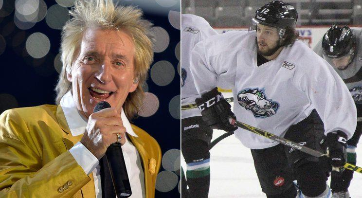 Grammy Award winner Rod Stewart (left) and his son, Liam, who is playing for Great Britain in the IIHF World Championship. (The Canadian Press)
