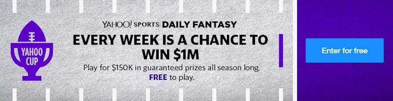 2018 nfl yahoo cup million dollar prize for perfect lineup the nfl yahoo cup is returning in 2018 and its better than ever how could it possibly get better well were offering a 1 million prize to the first ccuart Images