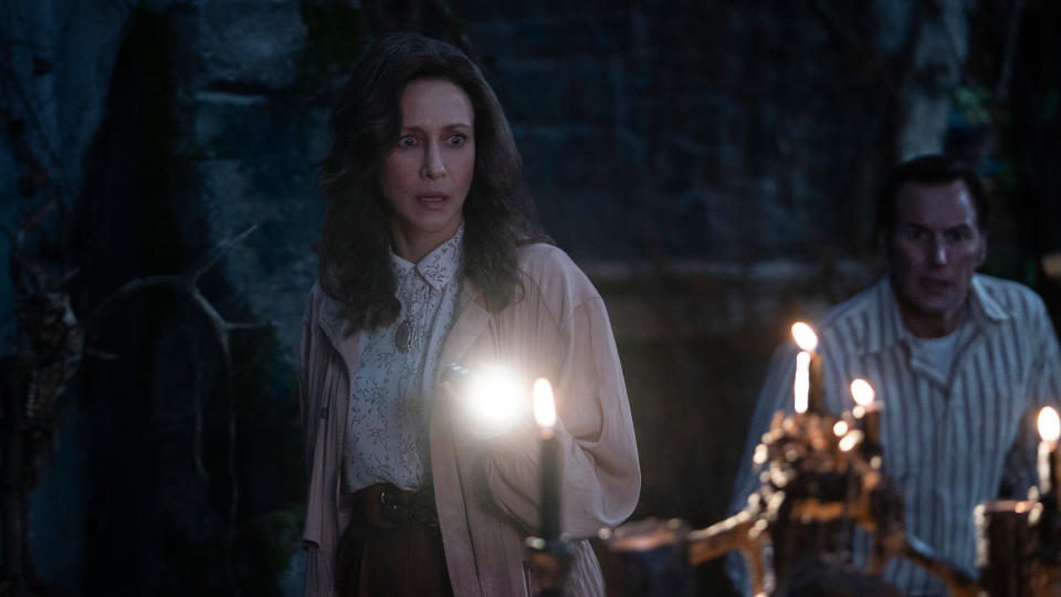 Vera Farmiga and Patrick Wilson return as the Warrens in horror sequel 'The Conjuring: The Devil Made Me Do It'. (Ben Rothstein/Warner Bros)