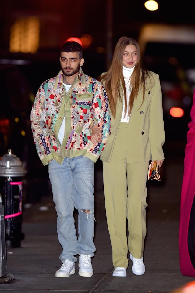 "<p>Of course, <a href=""https://www.popsugar.com/fashion/zayn-malik-with-gigi-hadid-wearing-patchwork-coat-in-nyc-47096357"" class=""ga-track"" data-ga-category=""internal click"" data-ga-label=""https://www.popsugar.com/fashion/zayn-malik-with-gigi-hadid-wearing-patchwork-coat-in-nyc-47096357"" data-ga-action=""body text link"">Gigi capped things off in Reeboks</a>.</p>"
