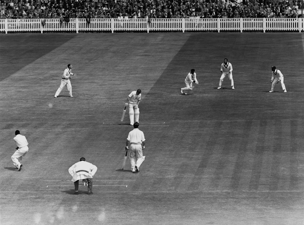 West Indies cricketer Rohan Kanhai (third from right) in action as wicket-keeper during a test match against England at Edgbaston, Birmingham, June 1957. (Photo by Central Press/Hulton Archive/Getty Images)