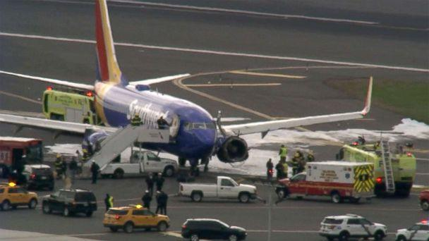 PHOTO: A Southwest Airlines plane on the tarmac at the airport in Philadelphia after making an emergency landing, April 17, 2018.  (WPVI)