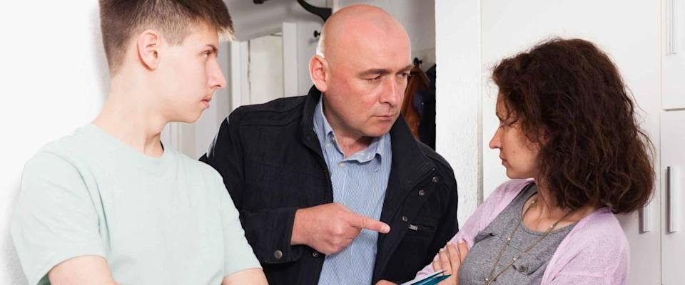 Angry householder demanding young woman with teenage son to pay arrears for apartment