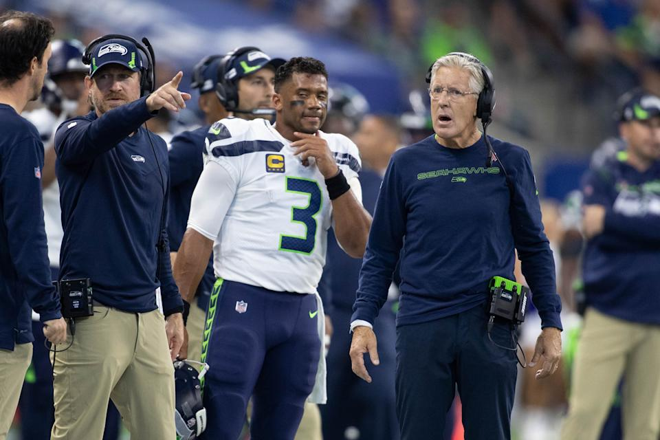 Seattle Seahawks quarterback Russell Wilson is averaging less than 20 pass completions per game this season. (Trevor Ruszkowski/USA TODAY Sports)