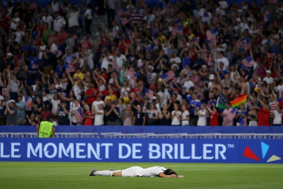 Lucy Bronze of England looks dejected following her sides defeat in the 2019 FIFA Women's World Cup France Semi Final match between England and USA at Stade de Lyon on July 02, 2019 in Lyon, France. (Photo by Joosep Martinson - FIFA/FIFA via Getty Images)