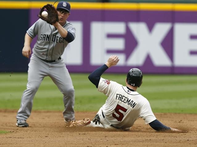 Atlanta Braves Freddie Freeman slides safely into second before the tag from San Diego Padres Jedd Gyorko in the fifth inning of a baseball game at Turner Field on Sunday, Sept. 15, 2013, in Atlanta. (AP Photo/Butch Dill)