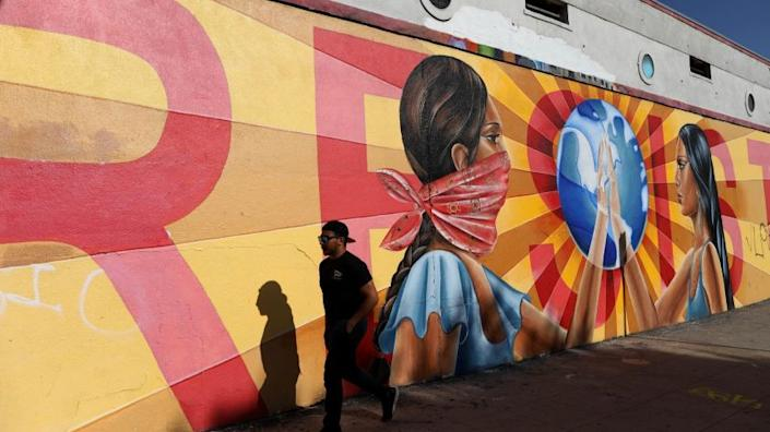 """A mural on the exterior of Self Help Graphics & Art in Boyle Heights. <span class=""""copyright"""">(Gary Coronado / Los Angeles Times)</span>"""