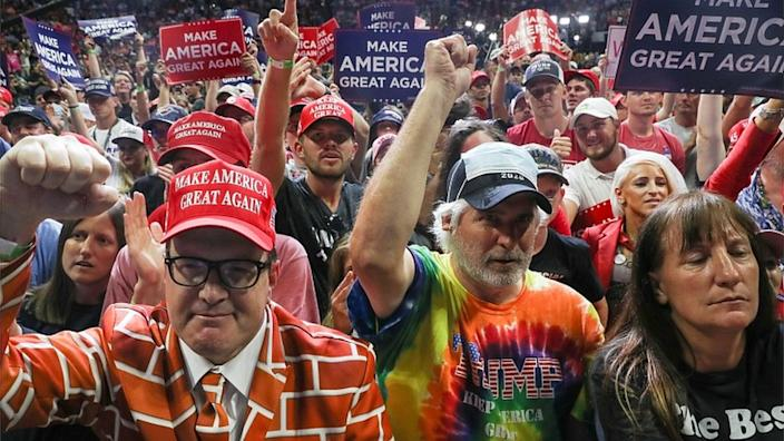 Many of Mr Trump's supporters were not wearing face masks at the rally