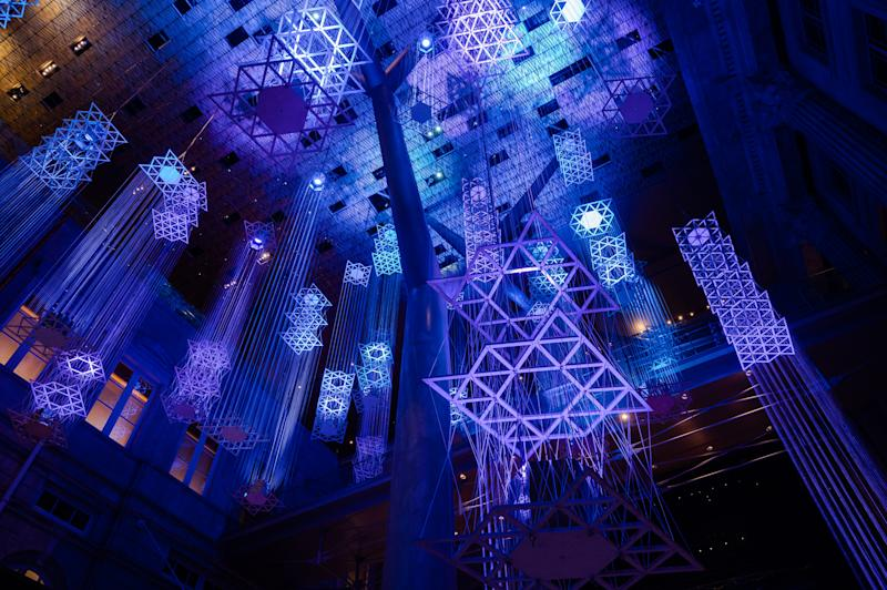 Floating City by Nipek x KNOTS at Light to Night Festival 2020: Invisible Cities in Singapore. (PHOTO: National Gallery Singapore)