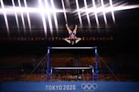 <p>Germany's Elisabeth Seitz competes in the artistic gymnastics women's uneven bars final of the Tokyo 2020 Olympic Games at the Ariake Gymnastics Centre in Tokyo on August 1, 2021. (Photo by Loic VENANCE / AFP) (Photo by LOIC VENANCE/AFP via Getty Images)</p>