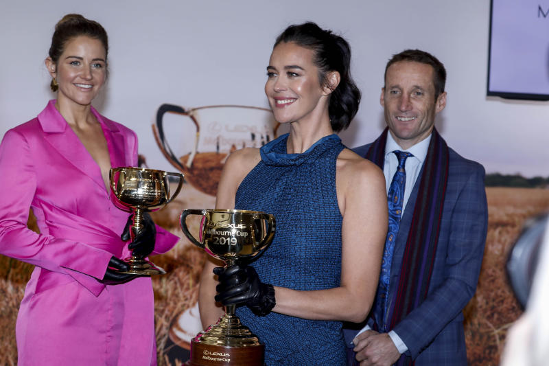 A photo of Michelle Payne, Megan Gale and Damien Oliver at the 2019 Lexus Melbourne Cup Tour Launch at Flemington Racecourse on June 11, 2019 in Melbourne, Australia.