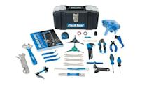 """<p><strong>Park Tool</strong></p><p>amazon.com</p><p><strong>$299.95</strong></p><p><a href=""""https://www.amazon.com/dp/B08DHSTV6V?tag=syn-yahoo-20&ascsubtag=%5Bartid%7C2143.g.35155165%5Bsrc%7Cyahoo-us"""" rel=""""nofollow noopener"""" target=""""_blank"""" data-ylk=""""slk:Shop Now"""" class=""""link rapid-noclick-resp"""">Shop Now</a></p><p>Park Tool makes the right tools for bicycle repair, and it makes them very well. The AK-5 is the best home-mechanic starter kit we've seen. It has everything you need to make the leap from cleaning and lubing your bike to more involved maintenance and repair. It has 25 of Park's well-made tools with a storage box, and the latest edition of Park's bicycle repair handbook.</p>"""