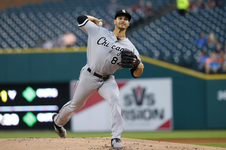 Chicago White Sox pitcher Dylan Cease throws against the Detroit Tigers during the first inning of a baseball game in Detroit, Friday, Sept. 20, 2019. (AP Photo/Paul Sancya)