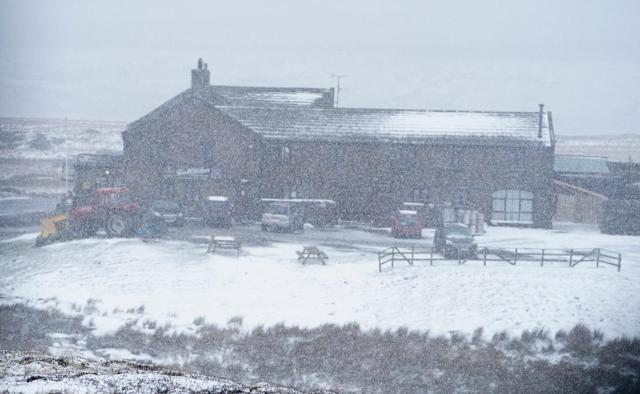 Snowy conditions at the Tan Hill Inn in Reeth in the Yorkshire Dales after Storm Ciara. (PA)