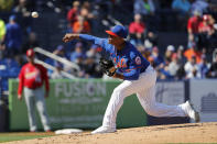 New York Mets pitcher Marcus Stroman throws during the second inning of a spring training baseball game against the St. Louis Cardinals Friday, Feb. 28, 2020, in Port St. Lucie, Fla. (AP Photo/Jeff Roberson)