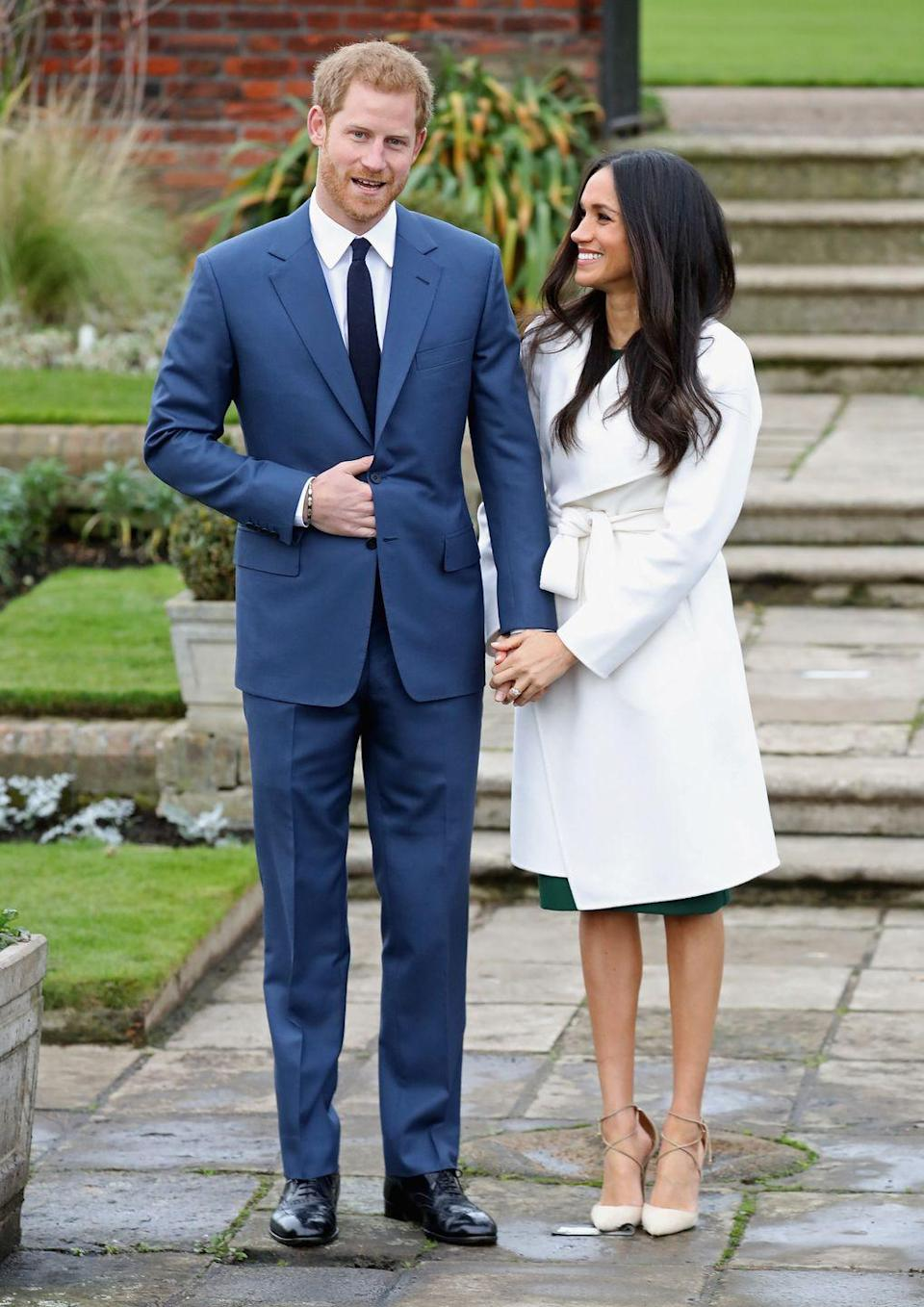 <p>In November 2017 Meghan Markle broke the internet when it was announced she was to marry Prince Harry in London. To publicly announce their union, she wore a white coat by Toronto-based label Line the Label layered, over a green dress by P.A.R.O.S.H and her favourite 'Matilde' heels by Italian footwear brand Aquazurra.</p>