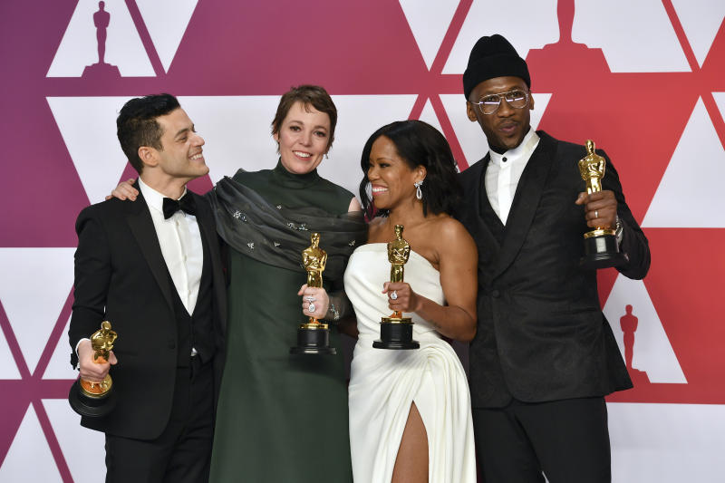"Rami Malek, from left, winner of the award for best performance by an actor in a leading role for ""Bohemian Rhapsody"", Olivia Colman, winner of the award for best performance by an actress in a leading role for ""The Favourite"", Regina King, winner of the award for best performance by an actress in a supporting role for ""If Beale Street Could Talk"", and Mahershala Ali, winner of the award for best performance by an actor in a supporting role for ""Green Book"", pose in the press room at the Oscars on Sunday, Feb. 24, 2019, at the Dolby Theatre in Los Angeles. (Photo by Jordan Strauss/Invision/AP)"