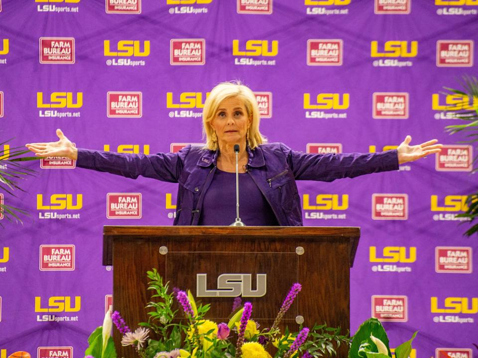 Kim Mulkey speaks as LSU Athletics holds a public press confrence to introduce her as the new head womens basketball coach Monday, April 26, 2021.