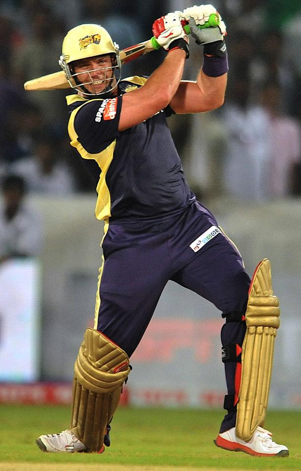 Kolkata Knight Riders batsman Jacques Kallis plays a shot during the Champions League Twenty20 Group B cricket match between Kolkata Knight Riders and Somerset at the Rajiv Gandhi International Stadium in Hyderabad on September 25, 2011. AFP PHOTO/ Noah SEELAM (Photo credit should read NOAH SEELAM/AFP/Getty Images)