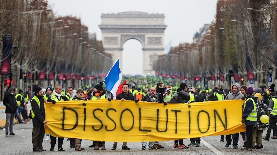 Some demonstrators called for the dissolution of the parliament (AFP Photo/Valery HACHE)
