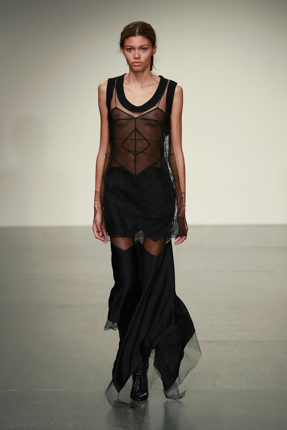 <p>Sheer has been a huge trend at London Fashion Week and there was no exception on the Antonio Berardi runway. </p>