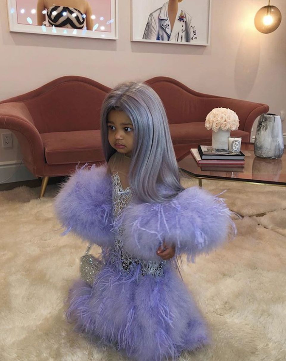 """Kylie Jenner dressed up her daughter, Stormi, in a dress reminiscent of her <a href=""""https://www.glamour.com/story/kylie-jenner-apparently-talked-about-how-rich-she-is-at-the-met-gala?mbid=synd_yahoo_rss"""" rel=""""nofollow noopener"""" target=""""_blank"""" data-ylk=""""slk:2019 Met Gala"""" class=""""link rapid-noclick-resp"""">2019 Met Gala</a> look."""