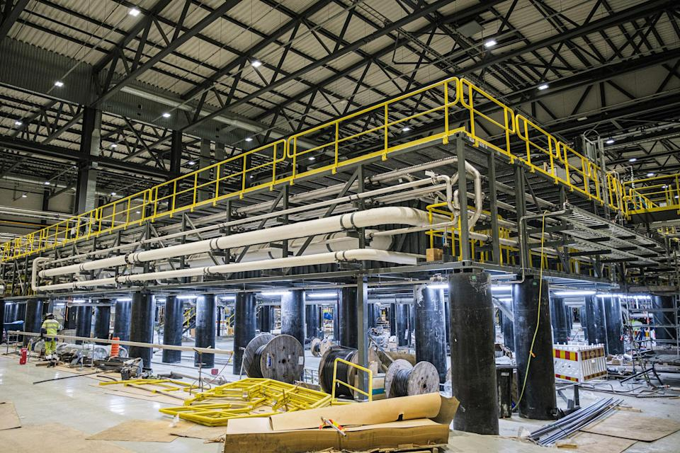 The new structure where the first stage of battery production will take place is pictured at the Terrafame extraction nickel and cobalt mine operation in Sotkamo, Finland.