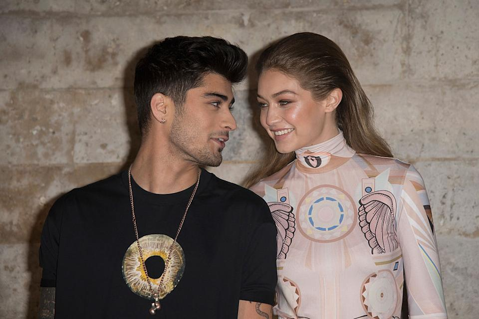 Gigi Hadid has confirmed she is pregnant, pictured here with boyfriend Zayn Malik in October 2016. (Getty Images)