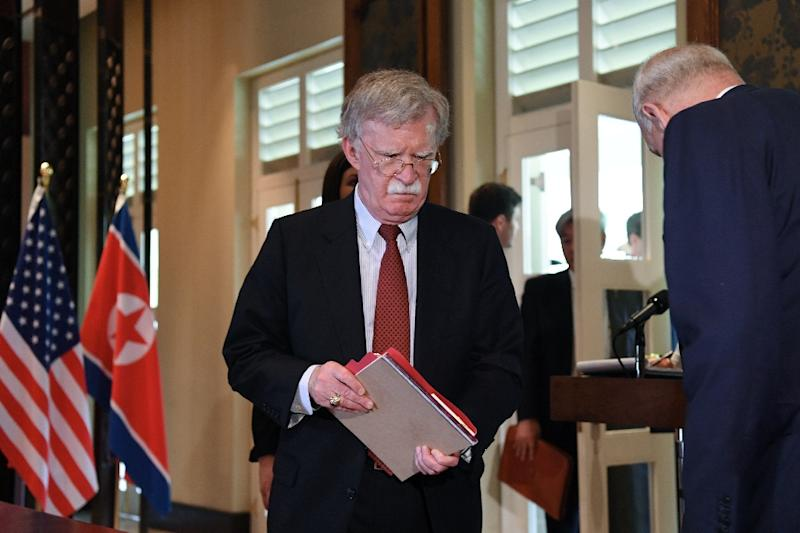 US National Security Advisor John Bolton arrives for a signing ceremony between North Korea's leader Kim Jong Un and US President Donald Trump during their historic first summit in Singapore in June 2018 (AFP Photo/SAUL LOEB)