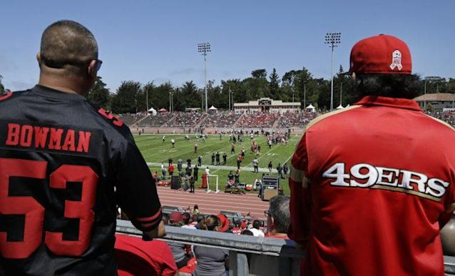 "The 49ers were conspicuously absent from the NFL Network's ""Top 100 Players"" list. (AP)"