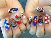 "<p><em>Obsessed</em> with Zendaya's mega-awesome superhero mani. Nothing like having ""boom"" and ""pow"" written across your nails to make you feel like you can take on the day!</p>"
