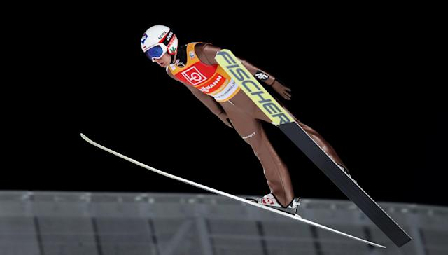 Ski Jumping World Cup - Men's HS134 Qualification - Holmenkollen, Oslo, Norway - March 9, 2018. Kamil Stoch of Poland is seen during official training. NTB Scanpix/Terje Bendiksby via REUTERS ATTENTION EDITORS - THIS IMAGE WAS PROVIDED BY A THIRD PARTY. NORWAY OUT. NO COMMERCIAL OR EDITORIAL SALES IN NORWAY.