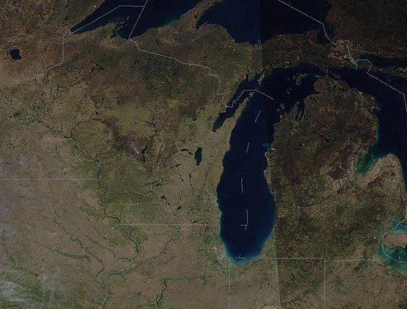 A satellite image taken on April 6, 2012. Notice the green vegetation that grew during March 2012's record heat.