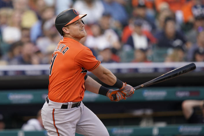Baltimore Orioles' Pat Valaika hits a two RBI single to right during the sixth inning of a baseball game against the Detroit Tigers, Saturday, July 31, 2021, in Detroit. (AP Photo/Carlos Osorio)