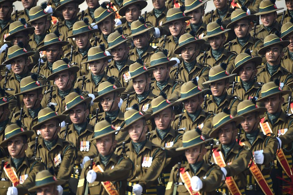 NEW DELHI, INDIA - JANUARY 26:  The Kumaon Regiment marches past during the 71st Republic Day Parade at Rajpath,  on January 26, 2020 in New Delhi, India.  (Photo by Arvind Yadav/Hindustan Times via Getty Images)