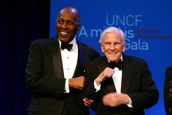 """Vernon Jordan and Chairman Emeritus of Young & Rubicon Edward Ney attend the 40th Anniversary Gala for """"A Mind Is A Terrible Thing To Waste"""" Campaign at The New York Marriott Marquis on March 3, 2011 in New York City. (Photo by Andy Kropa/Getty Images)"""