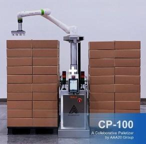 Collaborative palletizing robot by AAA20 Group. This robotic palletizer is designed to work along with your staff by automatically stacking boxes onto the pallet for transportation.
