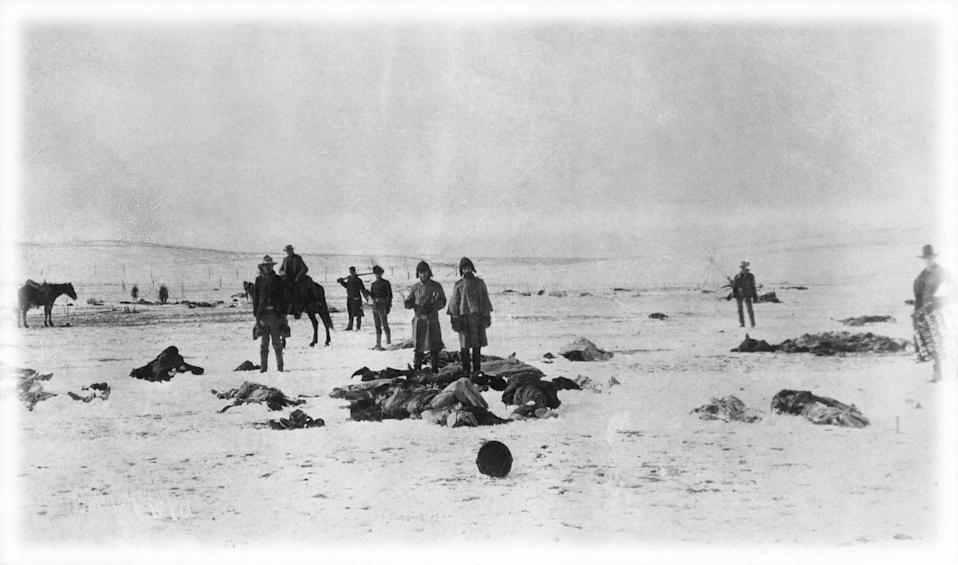 Aftermath of the Wounded Knee Massacre, South Dakota in 1890. (Photo: Bettmann Archive via Getty Images; digitally enhanced by Yahoo News)