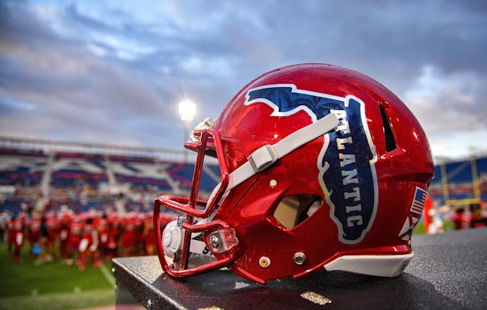 BOCA RATON, FLORIDA - OCTOBER 12: A detailed view of the helmet of Florida Atlantic Owls during the game against Middle Tennessee Blue Raiders at FAU Stadium on October 12, 2019 in Boca Raton, Florida. (Photo by Mark Brown/Getty Images)