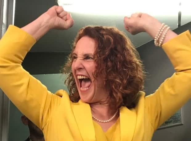 NDP Leader Alison Coffin celebrates after winning her seat in St. John's East-Quidi Vidi in the May 2019 election.