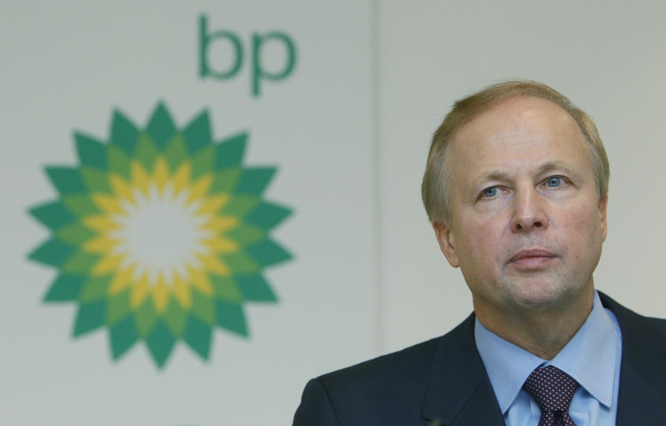 FILE - In this file photo dated Tuesday, Feb. 1, 2011, BP PLC's CEO Bob Dudley during a results media conference at their headquarters in London.  According to a company announcement Friday Oct. 4, 2019, Bob Dudley will step down as group chief executive in early February 2020, to be replaced by BP chief executive for upstream operations 49-year-old Bernard Looney. (AP Photo/Alastair Grant, FILE)