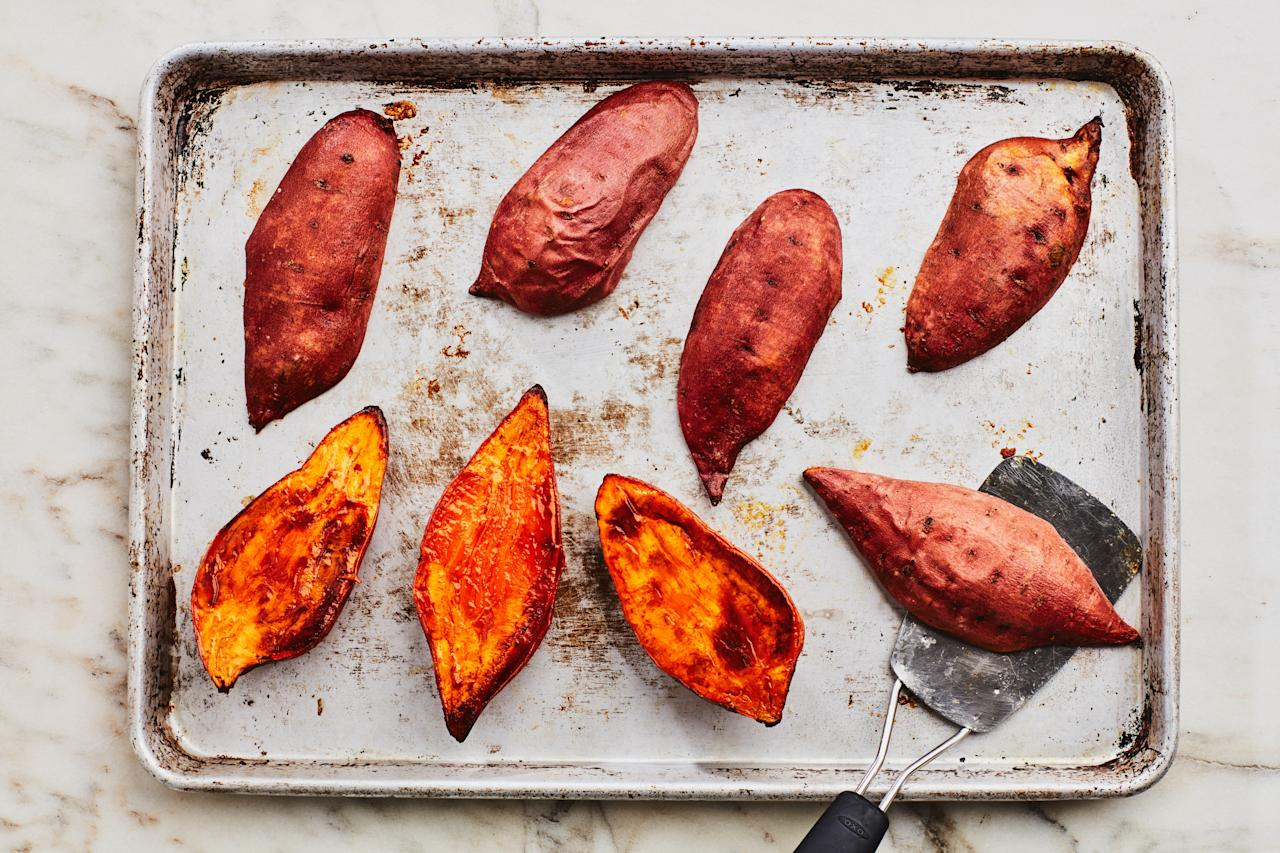 "Sometimes simple is best. This tried-and-true sweet potato preparation will be right at home on any Thanksgiving dinner menu. After roasting the spuds, slice them in half and drizzle with olive oil and top with crunchy nuts, herbs, or whatever you desire. <a href=""https://www.epicurious.com/recipes/food/views/sunday-stash-sweet-potatoes?mbid=synd_yahoo_rss"">See recipe.</a>"