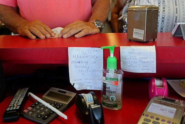 PHOTO: Hand sanitizer is seen inside Darrell's Diner amidst coronavirus-related event cancellations in The Villages, Fla., ahead of the upcoming Democratic primary, March 14, 2020. (Yana Paskova/Reuters)