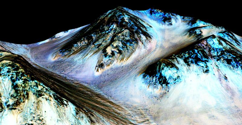 Dark, narrow streaks on the slopes of Hale Crater are believed to have been formed by seasonal flow of water on the surface of Mars: Nasa